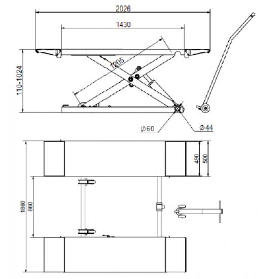 Mobilus vidutinio aukščio žirklinis keltuvas BD-S2