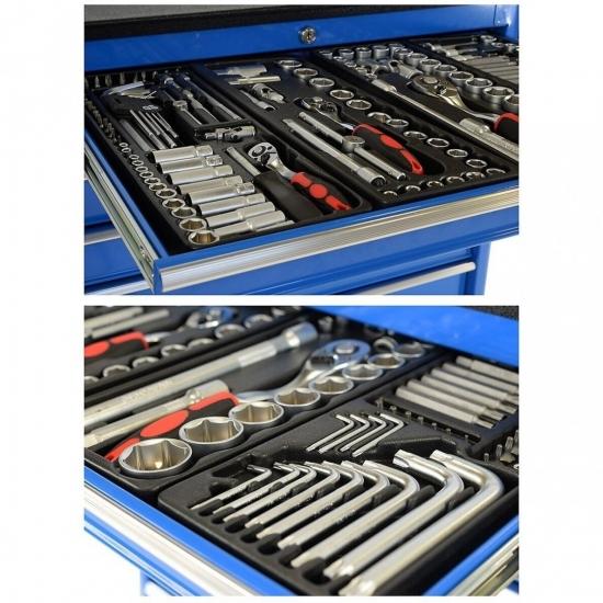 Įrankių vežimėlis su 269 įrankiais, 7 stalčiais