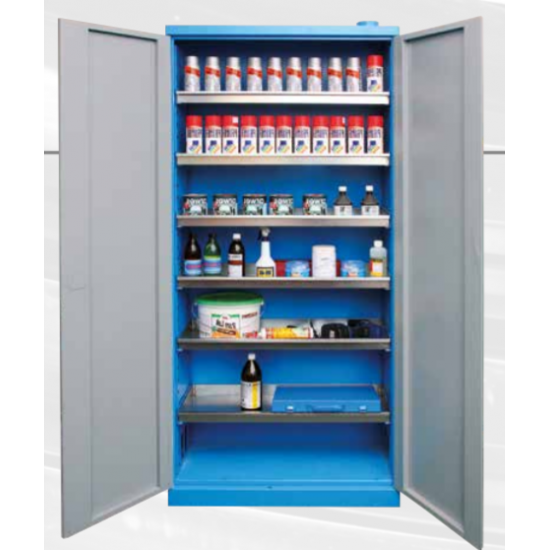 Work cabinet for chemical liquids with ventilation opening
