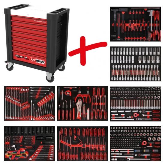 Performanceplus dirbtuvių įrankių vežimėlių rinkinys KS Tools P10 su 536 įrankiais 8 stalčiams