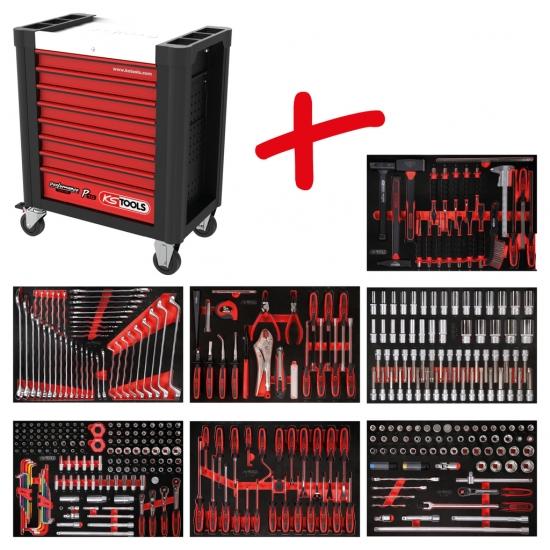 Performanceplus dirbtuvių įrankių vežimėlių rinkinys KS Tools P10 su 403 įrankiais 7 stalčiams