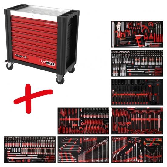 Performanceplus dirbtuvių įrankių vežimėlių rinkinys KS Tools P25 su 660 įrankių 8 stalčiams
