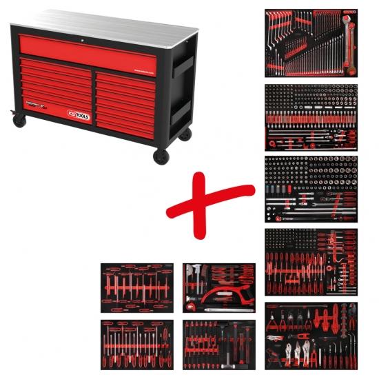 Performanceplus dirbtuvių įrankių vežimėlių rinkinys KS Tools P45 su 706 įrankiais 7 stalčiams