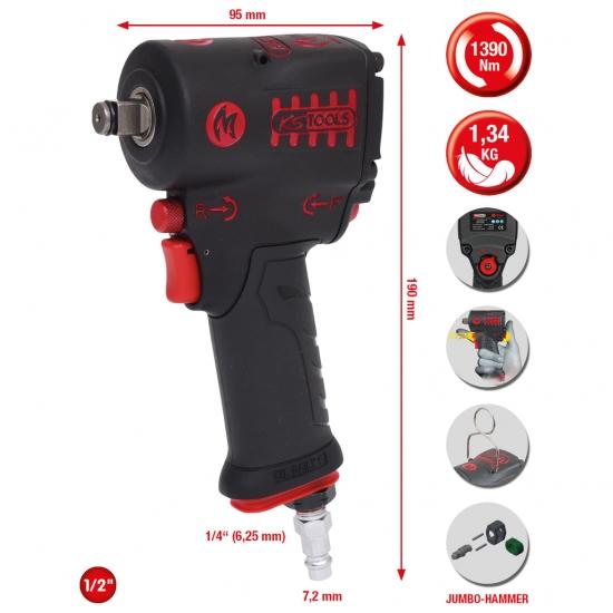 """KS Tools 1/2"""" miniMONSTER galingas pneumatinis, smūginis suktuvas"""