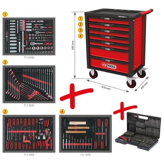 KS Tools RACINGLINE Juoda/Raudona Įrankių splinta su septyniais stalčiais ir 515 PREMIUM įrankiai