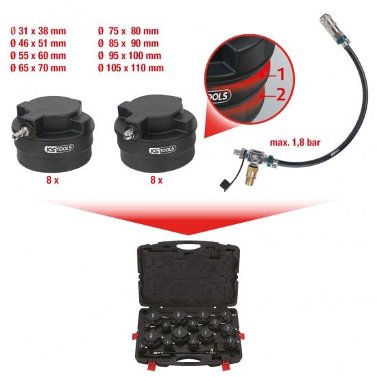 Комплект для измерения давления в системе турбонагнетателя KS Tools с адаптерами, 17 шт.