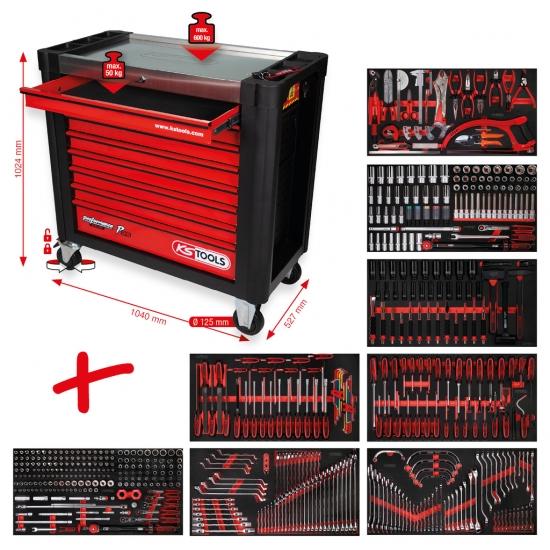 Performanceplius įrankių vežimėlis KS Tools P25 su 564 įrankiais ir 8 stalčiais