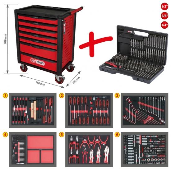 RACINGline įrankių vežimėlis su 7 stalčiais ir 598 įrankiais