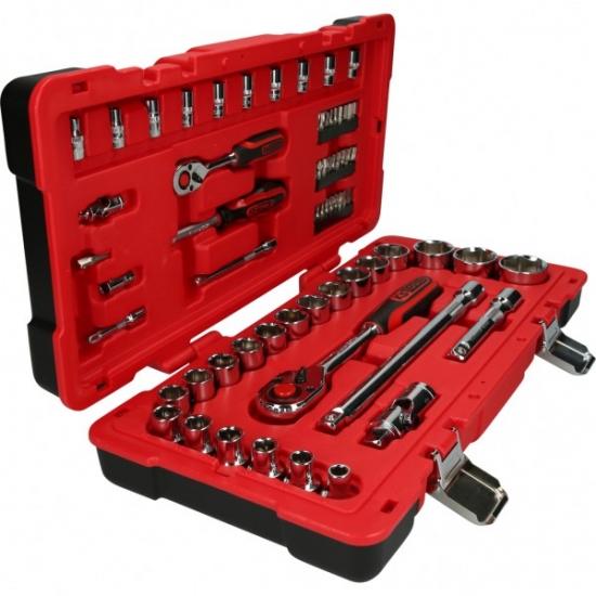 """1/4""""+1/2"""" CHROMEplus galinių raktų komplektas KS Tools 68 dalių"""