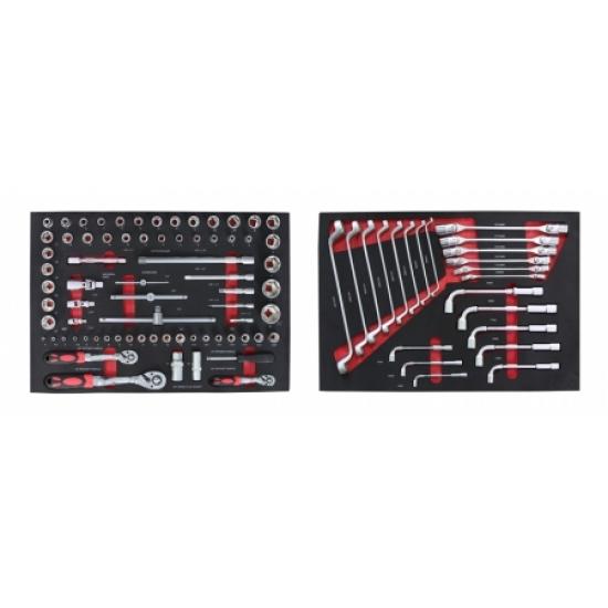 Įrankių vežimėlis su 181 įrankiais, 7 stalčiais