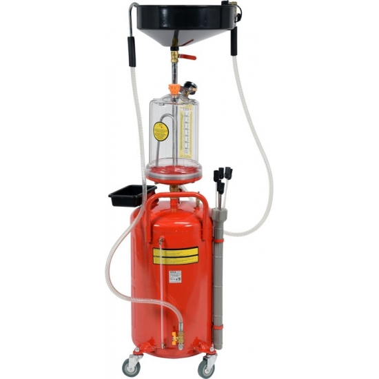 Oil collection tank 90l with suction and discharge, 6 probes