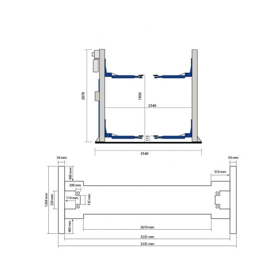 Elektrohidraulinis dviejų kolonų keltuvas Weber Expert Autolift 4.0-G
