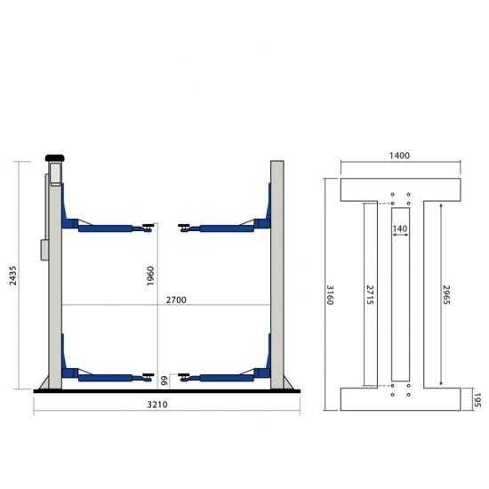 Sraigtinis dviejų kolonų keltuvas Weber Expert C-2.32-A