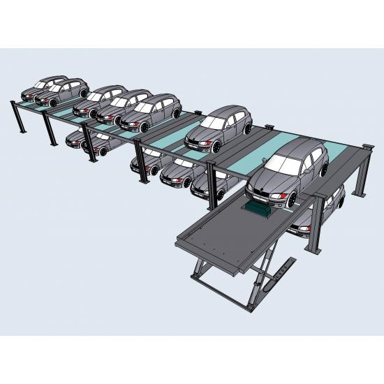 Parkavimo sistema su mobiliu žirkliniu keltuvu int-System-2